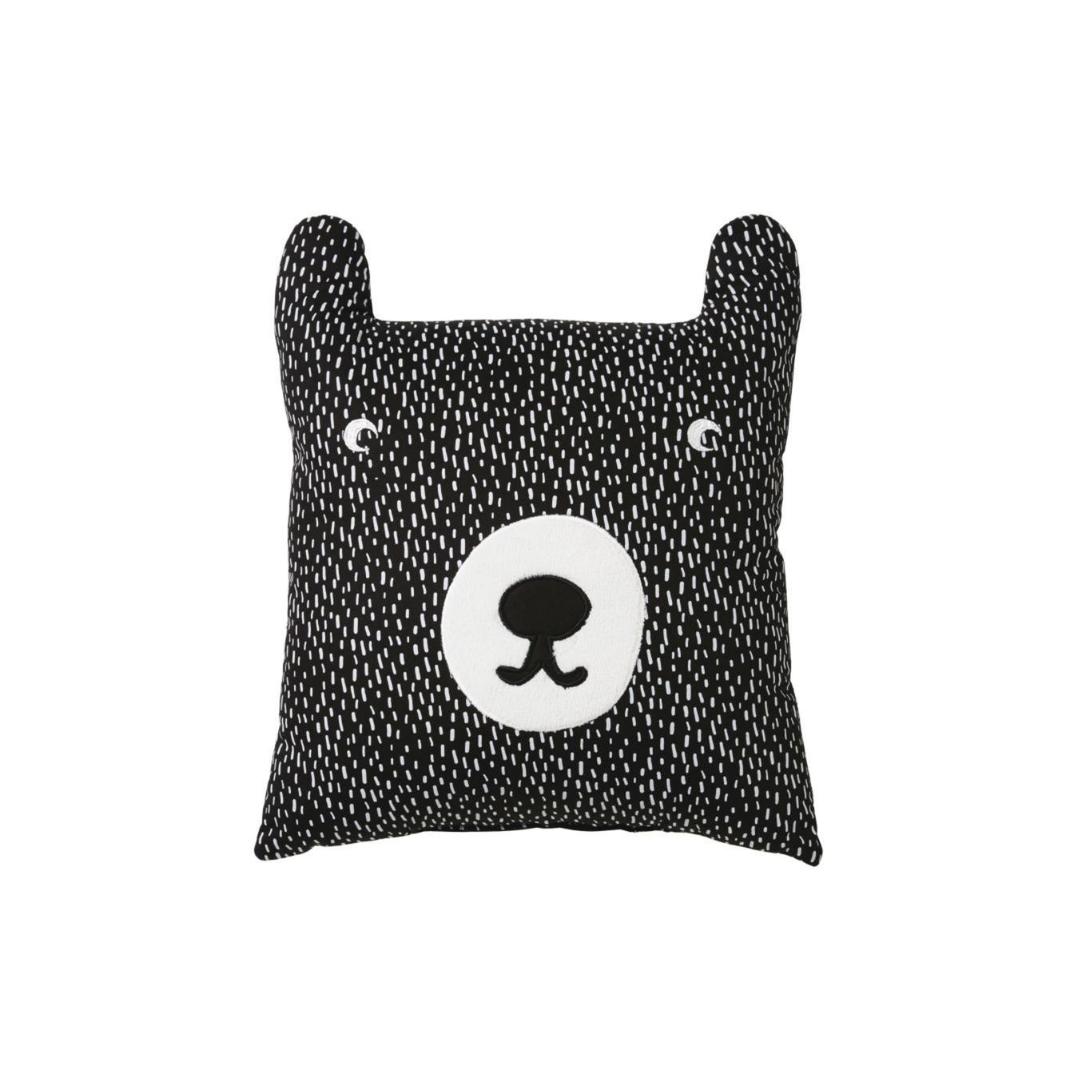 Bärenkissen aus Baumwolle mit Druckmuster, schwarz und weiß