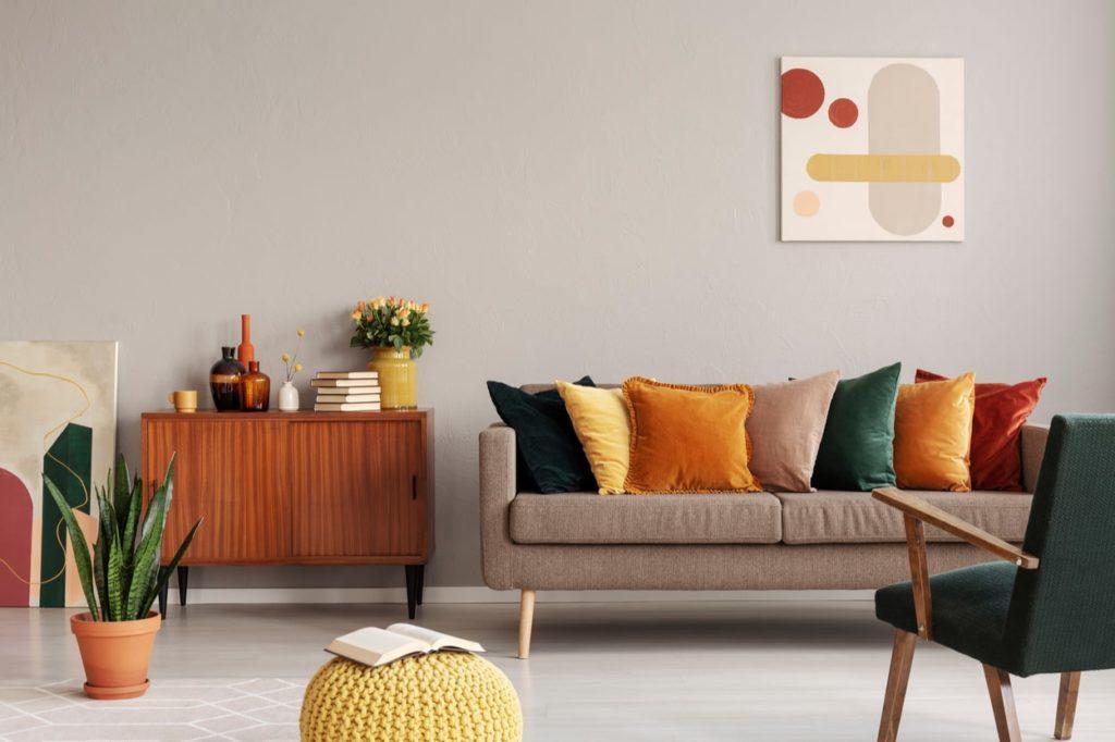 Wohnzimmer im modernen Retro Stil