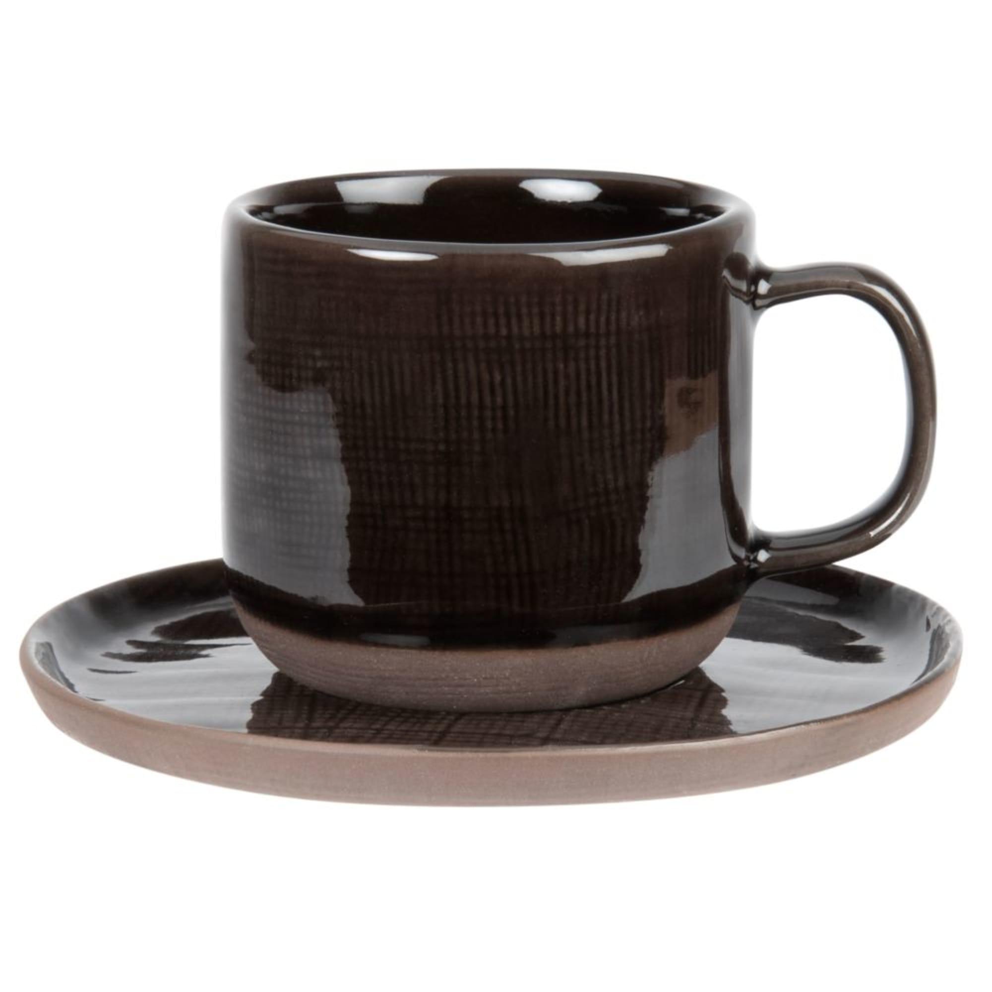 JEAN Tasse und Untertasse aus Fayence, braun