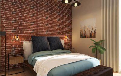 Schlafzimmer im Industrial-Stil mit American-Boxspring