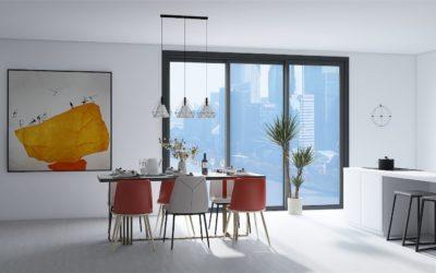 Offene Wohnküche im modernen weißen Stil