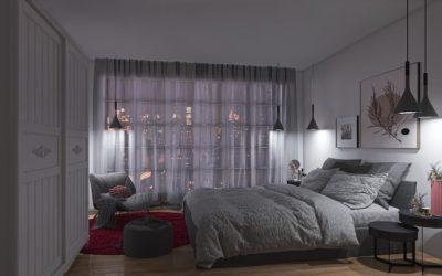 Schlafzimmer im dunklen Loft Style