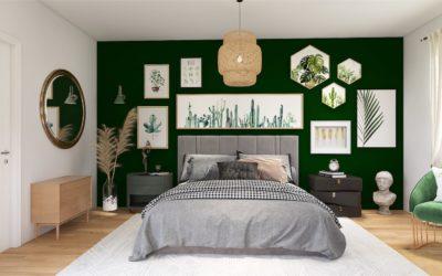 Grünes Boho Schlafzimmer für Pflanzenfans