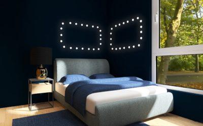 Pop-Industrial Style Schlafzimmer in Dunkelblau