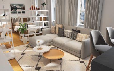 Studio mit offenen Raumteilern – Modern-Skandi-Boho