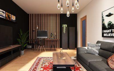 Wohn-Arbeitszimmer im ausgefallenen Boho-Industrial Mix