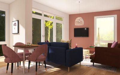 Offenes Wohn-Esszimmer im Glam-Boho-Stile mit Alt-Rosa und Gold