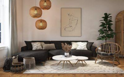Trendiges Wohnzimmer mit Rattan und Wiener Geflecht