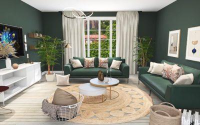 Grünes Wohnzimmer im Boho-Glam-Stil