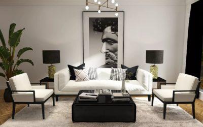 Stilvolles Wohnzimmer im Glam-Modern Style