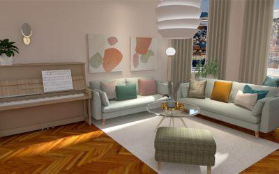 Großzügiges Wohnzimmer im Glam-Skandi-Stil