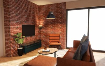 Industrial Wohnzimmer mit offenem Mauerwerk