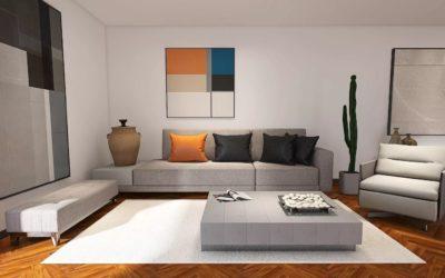 Stilvolles modernes Wohnzimmer mit klaren Linien