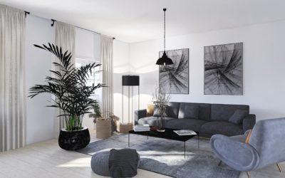 Modernes Wohnzimmer mit starkem Kontrast