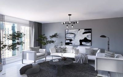 Modernes Wohnzimmer in Weiss